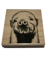"""Baby Pig Rubber Stamp New Wood Mounted Piggy Farm Animal 3""""x3"""" - $7.75"""