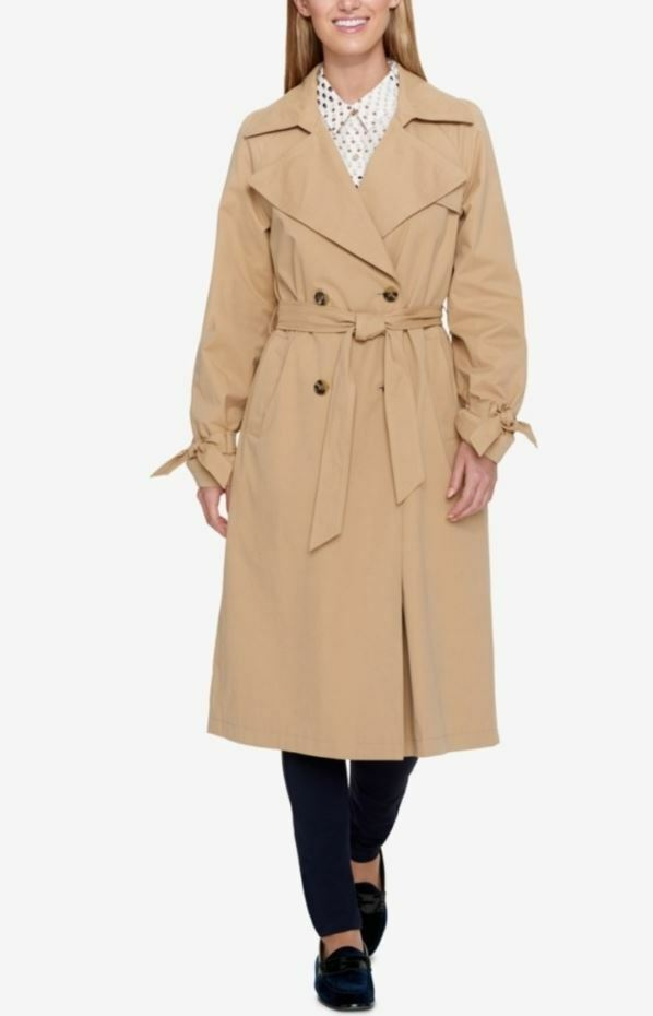 Tommy Hilfiger Woman's Camel Double Breasted Trench Coat, Size XXL