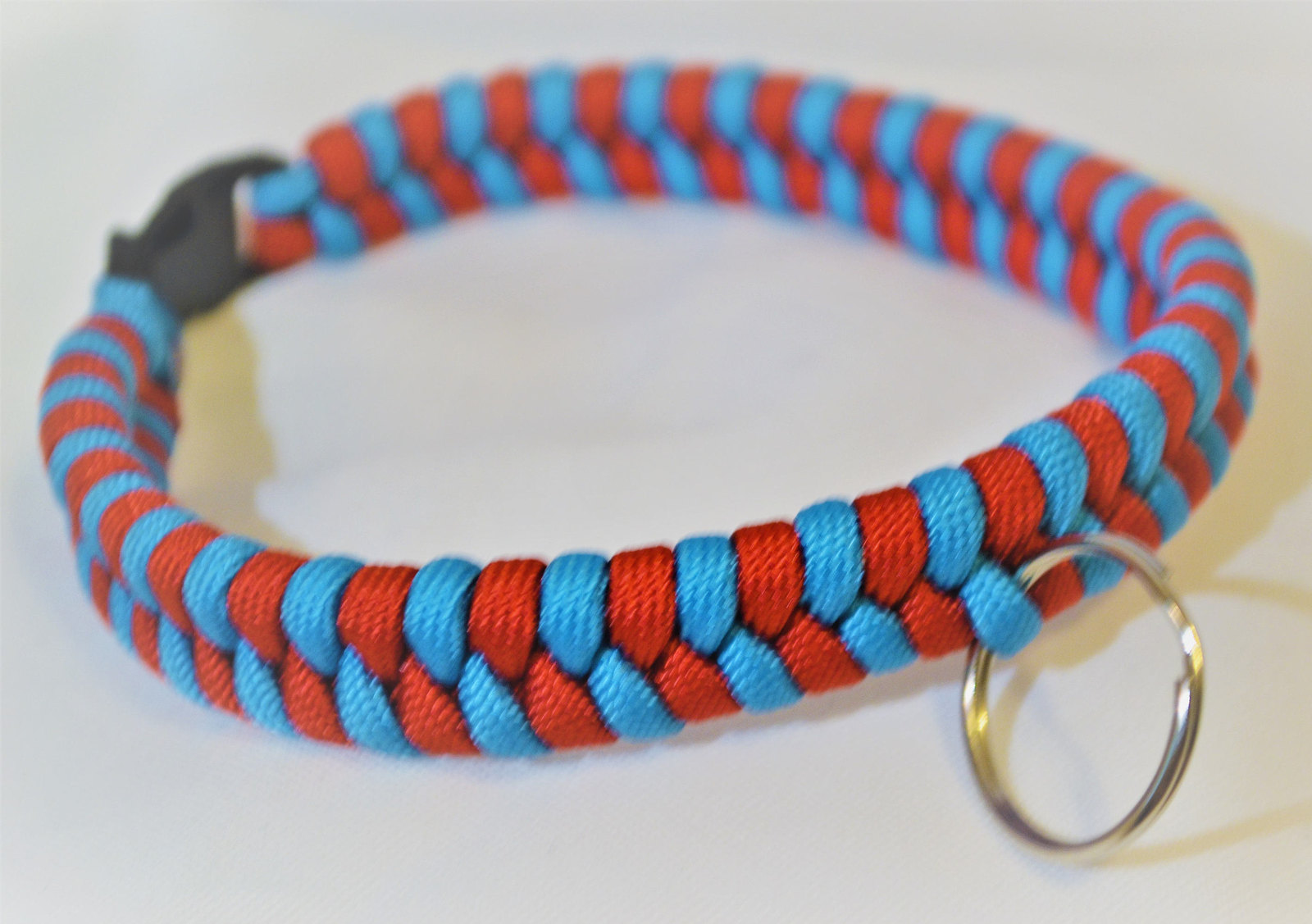 Primary image for Paracord 550 Dog Collar Red and Blue Fish Tail Design Black Quick Release Buckle