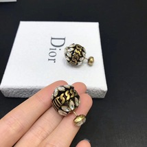 NEW AUTH Christian Dior 2019 DIO(R)EVOLUTION CRYSTAL TRIBALES EARRINGS AGED GOLD image 10