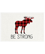 Be Strong Plaid Moose Nursery Decor Wall Art - $6.44+