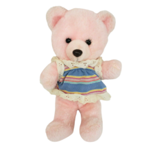 "12"" VINTAGE MTY INTERNATIONAL PINK TEDDY BEAR BABY STUFFED ANIMAL PLUSH TOY - $42.08"