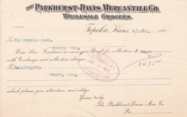 U. S. The Parkhurst-Davis Mercantile Co Grocers Receipt + Stamp Cover Re... - $12.32