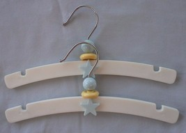 "Adorable Set of Two 10"" White Designer Baby Nursery Hangers Blue & Yello... - $15.00"