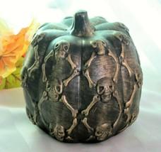 Halloween Spooky Ceramic Pumpkin with Embossed Skulls & Bones Home Decor... - $13.78