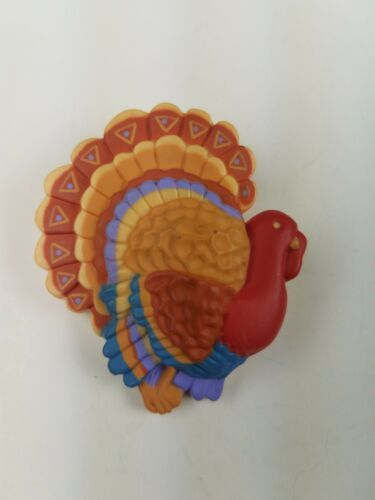 Hallmark Holiday Thanksgiving Pin Colorful Tom Turkey Red Blue Tan