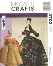 """2002 Doll Clothes """"GOWNS"""" McCall's Pattern 3702 Fashion Dolls UNCUT - $15.00"""