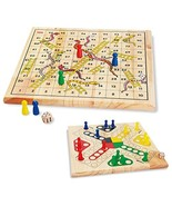 ZONXIE Wooden Classic Snakes & Ladders Board Game Traditional Children F... - $23.34