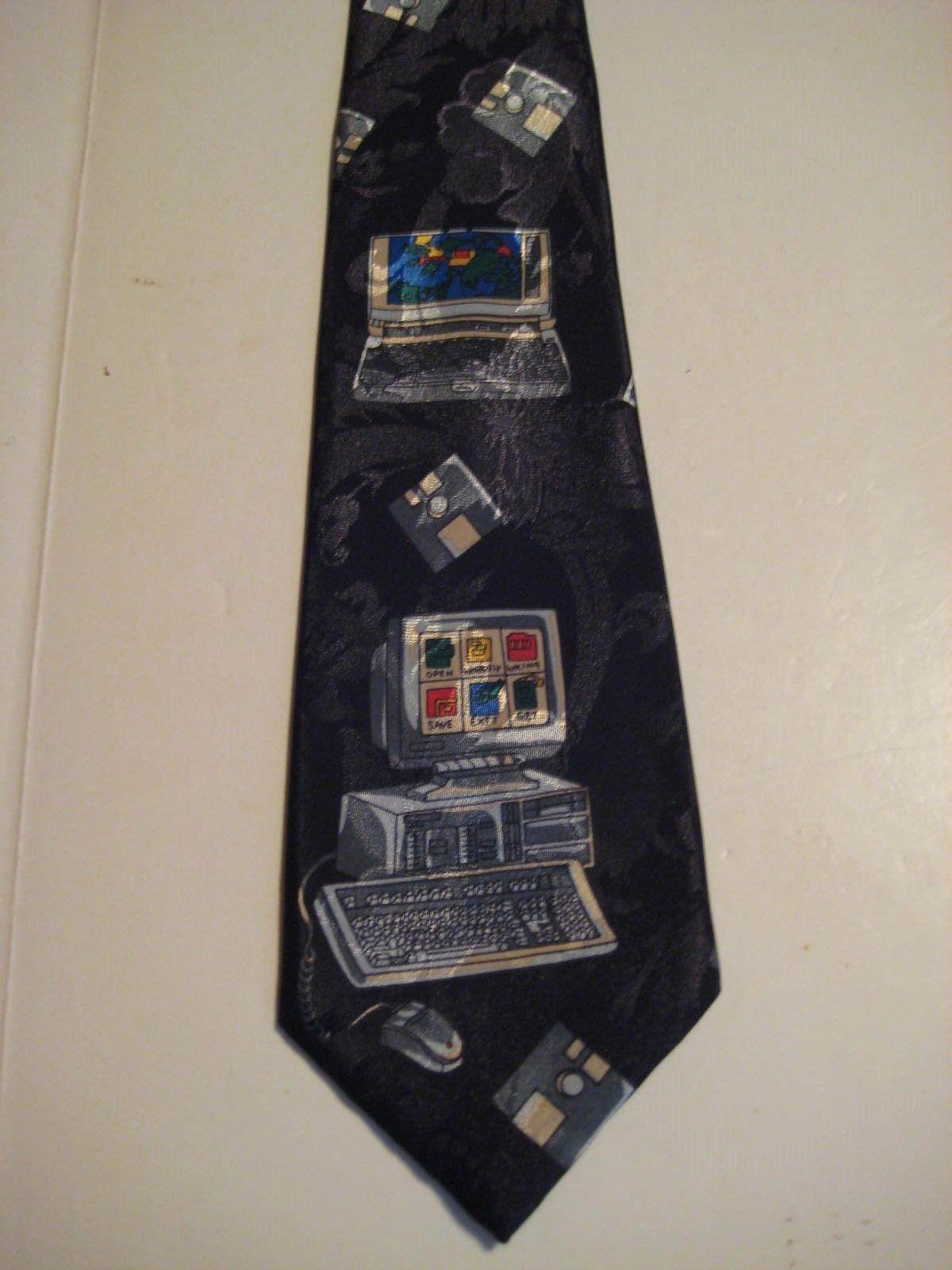 "Original Vintage Black MAC COMPUTER FLOPPY DISCS 3.75"" Necktie Dino Romaro 257 - $16.37"