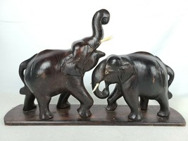 Vintage Pair of Hand Carved Solid Wood Elephants Statue Figures on Base - $59.96
