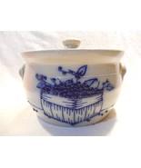 1993 Salmon Falls Dover NH Pottery Salt Glazed Blueberry Basket Lg Cover... - $21.95