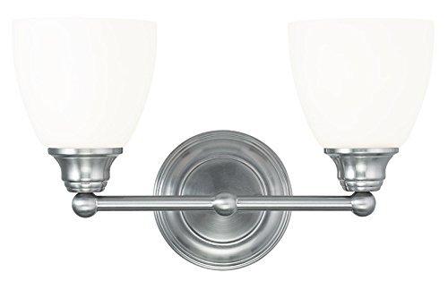 Livex 2 Light Bathroom Vanity Lighting Fixture Brushed: Livex Lighting 13662-91 Somerville 2-Light Bath Light