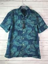 Van Heusen Mens Size M 15-15.5 Short Sleeve Button Polynesian Green Blue - $16.82