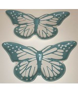 2 Melrose International Turquoise White Butterfly Shaped Ceramic Plate T... - $19.99