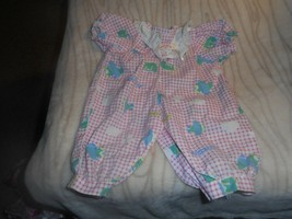 COTTON PINK CHECKERED ONSIE WITH AIRPLANE DESIGN LACE YOLK AND WHITE BOW - $4.99