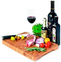 Thick End Grain Bamboo Wood Cutting Board/Kitchen Butcher Block Heavy Du... - $37.08