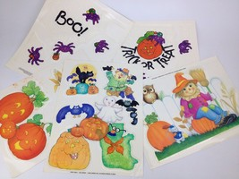 5pc Lot 90s Halloween Window Decal Cling VTG Decoration Spider Ghost Cat... - $18.22