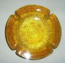 Vintage  Anchor Hocking Amber GLASS Heavy LARGE Collectible ASHTRAY