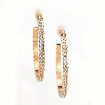 UNITED ELEGANCE Rose Tone Hoop Earrings With Sparkling Swarovski Style Crystals  image 3