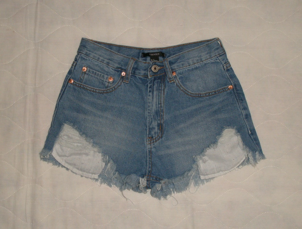 Primary image for Forever 21 High Waist Rise Distressed Denim Jean Shorts Size S 4 5 6 26 27 28
