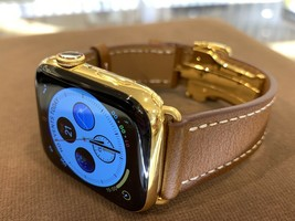 44mm Apple Watch Series 5 Custom 24K Gold Plated Stainless Steel GPS Cellular - $996.55