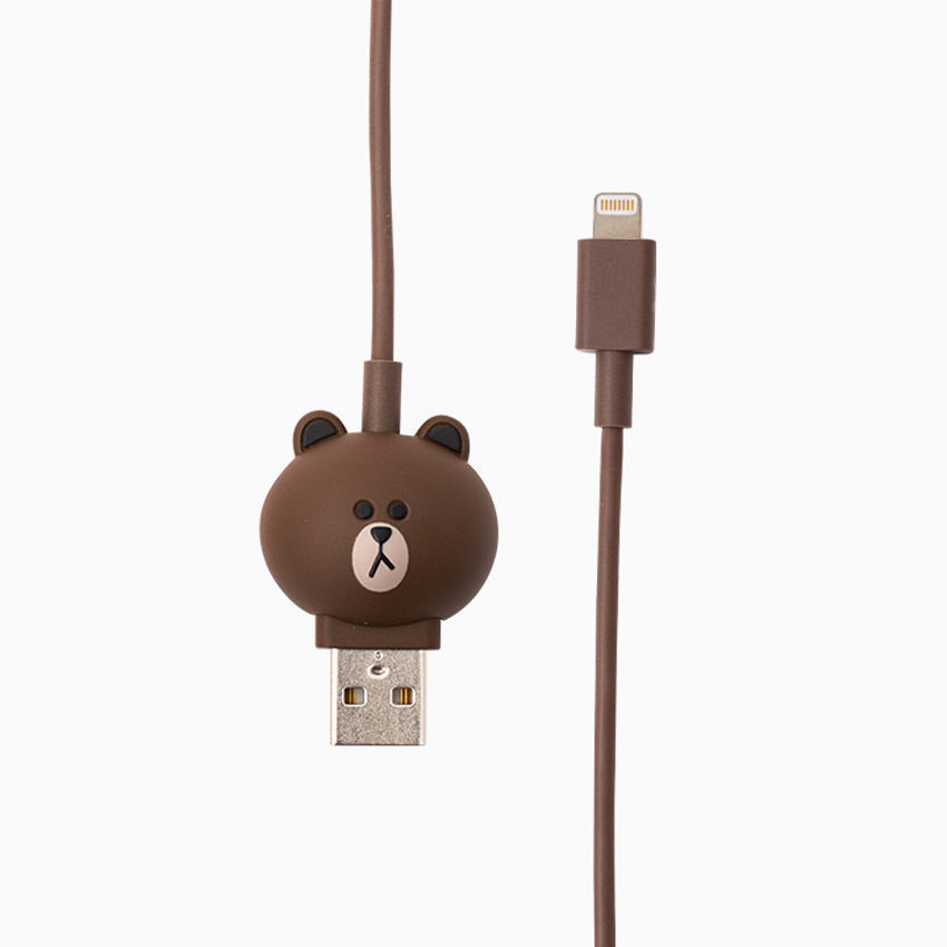 LINE Friends BROWN Charge & Sync Cable 8 pin iPhone USB Data 1m iPod, iPad Acc