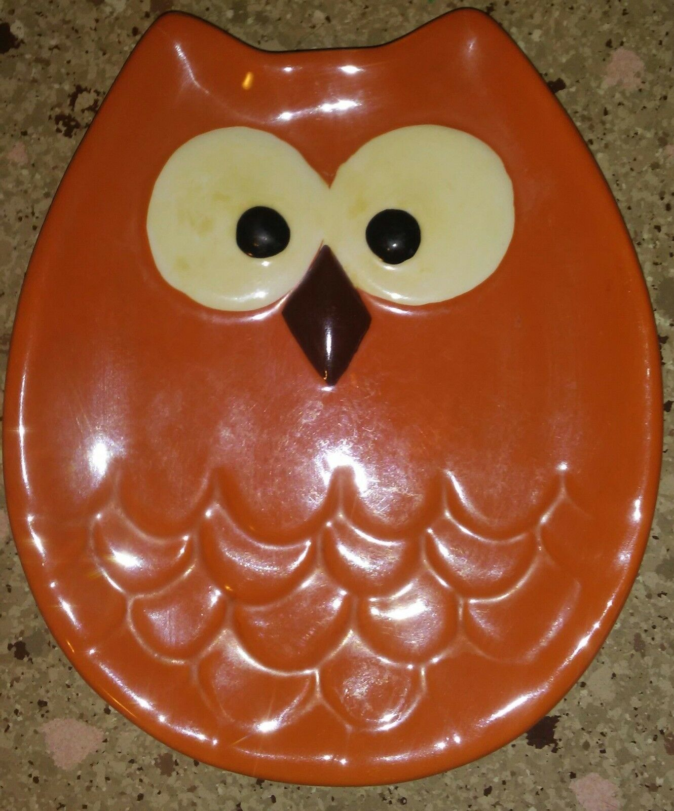 Lot of 2 Ceramic Owl Shaped Plates Candy Dish Trinkets