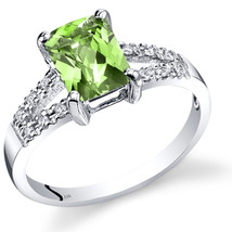 14k White Gold Peridot and Diamond Split Band Ring  - $499.99