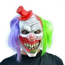 Evil Halloween Clown Mask Costume Party Mask with Hair Killer Psycho the Clown image 1