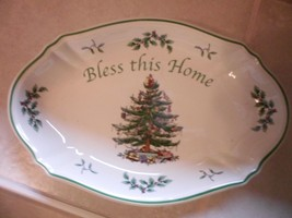 """Spode Christmas """"Bless This Home"""" 11"""" Platter~Retail $40 England Oval Fluted - $18.39"""
