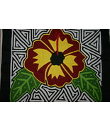 Kuna Mola Applique Hand stitched Colorful Hibiscus Bloom Indian Textile ... - $47.49