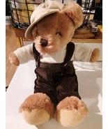 "DAN DEE COLLECTOR'S Cute Brown Plush Bear corduroy Overalls  14"" 2009 - $14.84"