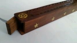 Incense Burner / Ash Catcher Carved Wood Star Inlay
