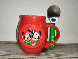 Disney Mickey and Minnie Christmas Mug Cup with Spoon C22 - $22.00