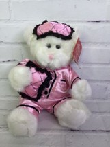 Russ Berrie Pamper Me Pink Satin Pajamas White Plush Teddy Bear 8in - $14.01
