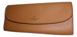 COACH F59949 CROSSGRAIN LEATHER SOFT WALLET CREDIT CARD CLUTCH LIGHT SADDLE - $51.48