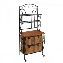 Kitchen Storage Rack Bakers Metal Shelves Wicker Baskets Wood Counter Or... - $428.88