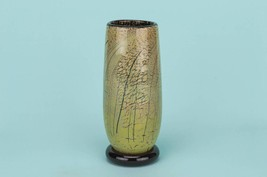 Glass Elegant Mottled VASE Tapered Vintage English Late 1900s LS - $33.06