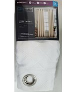 Liz Claiborne Home Grommet Panel Quinn Lattice 50x95 New Cool White - $21.15