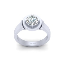 Created White Diamond Solitaire Engagement Ring Solid White Gold Wedding Jewelry - $1,069.99