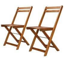 vidaXL 2x Solid Wood Bistro Chair Foldable Patio Outdoor Garden Seat Dining - $53.99
