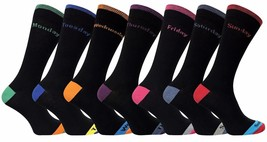 7 Pack Mens Black Colored Heel and Toe Cotton Days of the Week Casual Crew Socks - $14.99