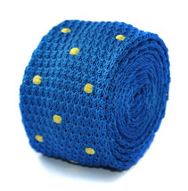 royal blue & yellow polka spot skinny knitted tie by Frederick Thomas FT2005