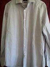 Hugo Boss 100%cotton purple/white spread collar striped dress shirt size16.5/35 - $18.81