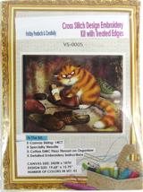 "Needlepoint Embroidery Kit APT Hobby Products ""Sly Shoe Shining Cat"" 14CT  - $30.44"