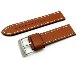 Light Brown/White Strap/Band for FOSSIL Watch Genuine Leather Silver/Buckle 22mm - $20.00