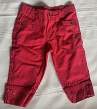 Faded Glory Toddler Girls Jeans Sz 8 Pink Embroidered Hearts Cuffed Hems Cotton - $10.39