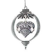 Inspired Silver Daddy Pave Heart Holiday Ornament - €12,80 EUR