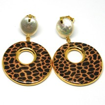 EARRINGS SILVER 925 HANGING PEARLS BAROQUE STYLE FLAT, OVALS EFFECT LEOPARD image 2