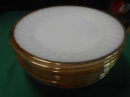 "Great FIRE KING White-Gold Trim Set of 10 DINNER Plates..9"" - $68.89"